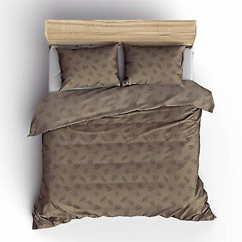 Pierre Cardin Duvet Cover Jaquard Botanical Leaves Taupe