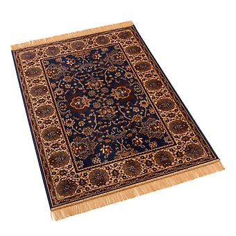 Blue Indian Agra Artificial Faux Silk Effect Rugs 4620/9 100 x 140cm