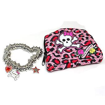 Pink Cookie Silvertone Heart, Star & Skull Charm Bracelet & Matching Purse