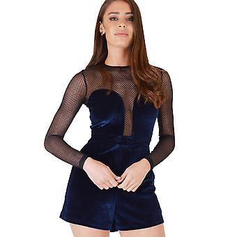 WYLDR Navy Blue Velvet Playsuit With Mesh Detail