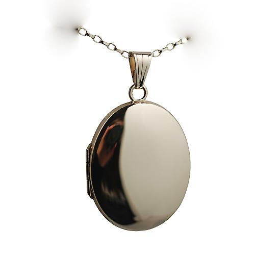 9ct Gold 30x24mm plain oval Locket with a belcher chain