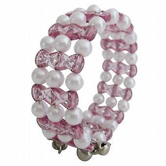 Bangle Bracelet Ine roze & witte kralen
