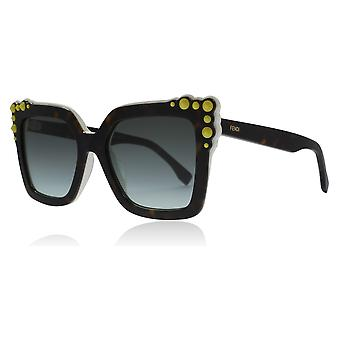 Fendi FF0260/S C9K Havana / White FF0260/S Square Sunglasses Lens Category 3 Size 52mm