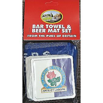 Blackburn Rovers FC Cotton Bar Towel and 10 Beermats (pp)