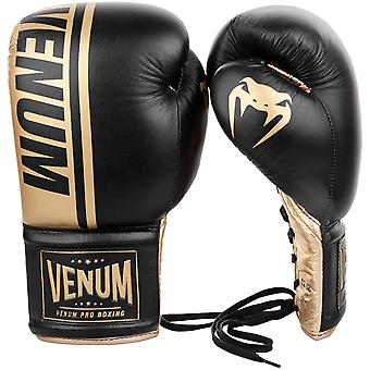 Venum Shield Pro Lace Up Leather Boxing Gloves - Black/Gold