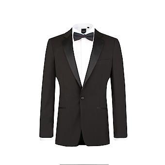 Ajustement de Dobell Mens Black 2 pièces Tuxedo maigre Notch Lapel costume dîner du soir