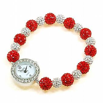 Echo Red & Silver Elastic Disco-balla Ladies Christmas Watch Bracelet