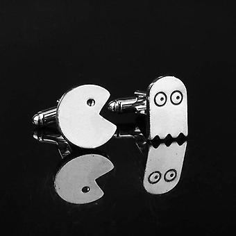 Gamer pacman & ghost suit cuff links stainless steel