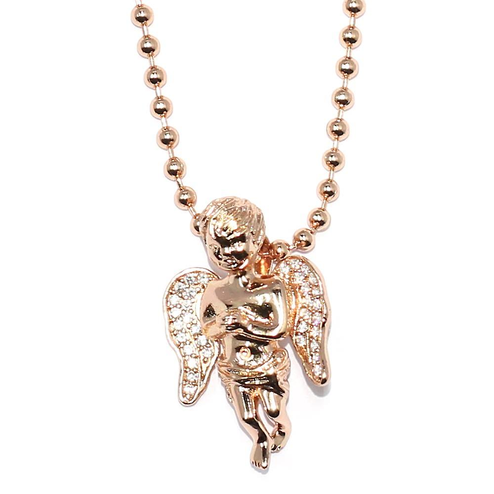 Rose Gold Plated Micro Angel Piece with 30 inch Ball chain Necklace High Quality