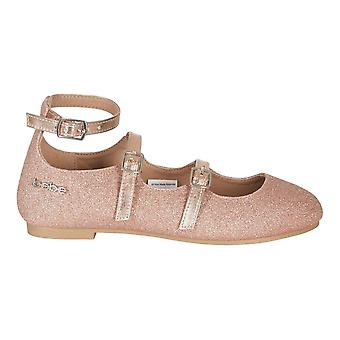 bebe Girls Ballet Flats with Glitter and Metallic Straps