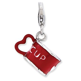 925 Sterling Silver Rhodium-plaqué Fancy Lobster Closure Enameled 3-d Heart Cup With Lobster Clasp Charm