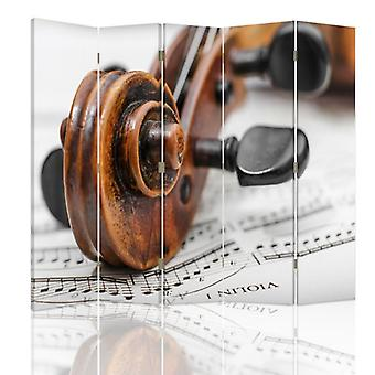 Room Divider, 5 Panels, Double-Sided, 360 ° Rotatable, Canvas, Violin On Music Sheet