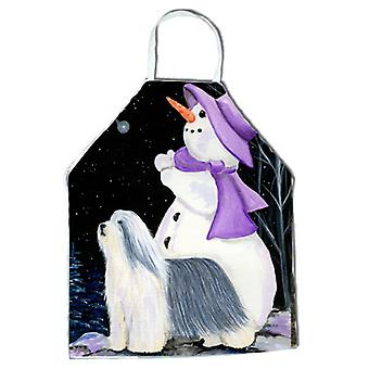 Snowman with Bearded Collie Apron