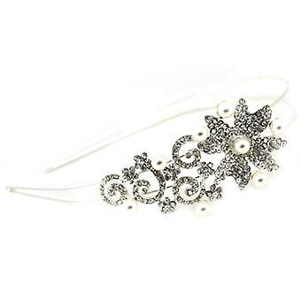 Bridal hårtillbehör Silver & Crystal Spiral Aster blomma hårband