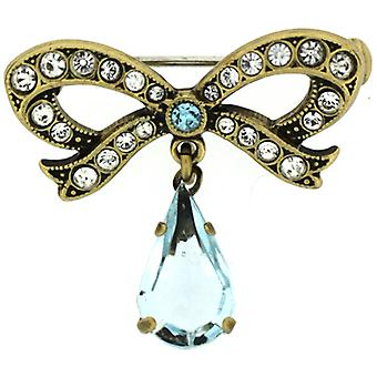 Cavendish French Edwardian Style Faux Aquamarine Blue and Gold Bow Brooch