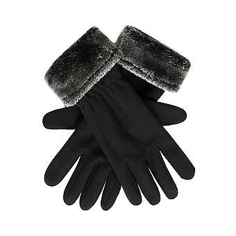Schwarze Fleece-Handschuhe mit Faux Pelz-Trim