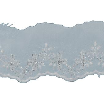 Metallic Embroidered Edge Bridal Organza Trim 2-5/8