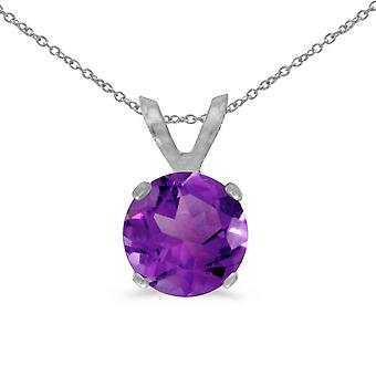 14k White Gold 6mm Round Amethyst Stud Pendant (.65 ct) with 18