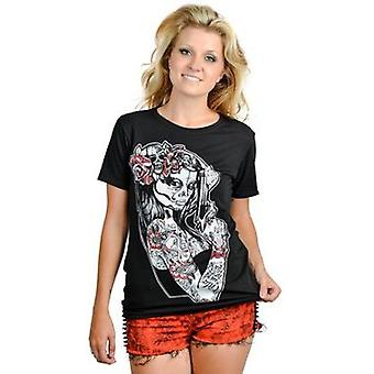 Too Fast Anna Maria Slashback Womens Tshirt Day Of The Dead Sugar Skull