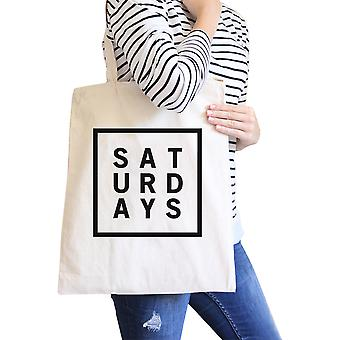 Lørdager naturlig Canvas Bag Trendy typografi Tote Bag gave ideer