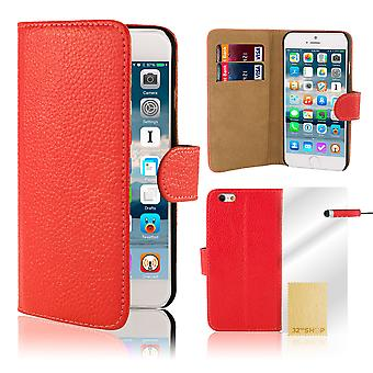 Premium portfel Case etui dla Apple iPhone 6 Plus (+ 6S Plus) - czerwony