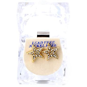 Iced Out Bling Ohrstecker Box - DOUBLE STAR gold