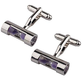 TRIXES Mens Novelty Purple Sand Timer Cufflinks