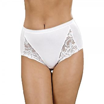 Camille Camille Three Pack Floral Lace Maxi Briefs In White