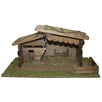 Crib Nativity scene wood Nativity stable JEREMIAH hand work for characters up to 14 cm