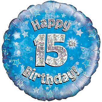 Oaktree 18 Inch Happy 15th Birthday Blue Holographic Balloon