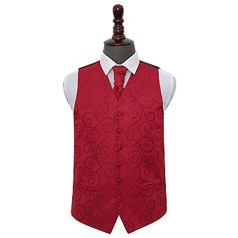 Gilet de mariage Bourgogne Scroll & Cravat Set