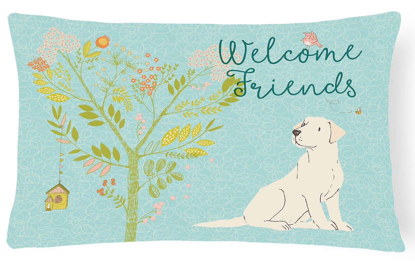 Labrador Retriever Pillow Friends Yellow Fabric Welcome Decorative Canvas W29YEHbDeI