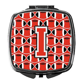 Letter I Football Scarlet and Grey Compact Mirror