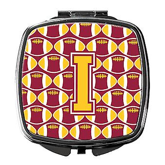 Letter I Football Maroon and Gold Compact Mirror