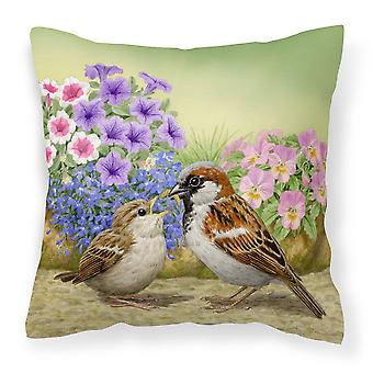 House Sparrows Feeding Time Canvas Decorative Pillow