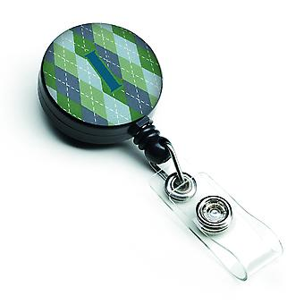 Monogramma - iniziale ho Argoyle blu retrattile Badge Reel