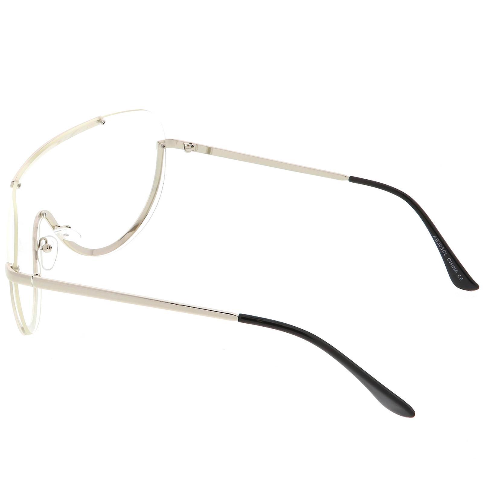 Tamanho grande Semi escudo sem aro óculos Metal guarnição clara Mono lente  65mm 1ecf9ec55b