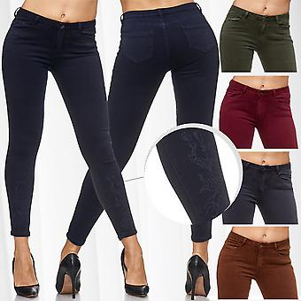 Ladies jeans slim flower embroidery sexy trousers of skinny jeans stretch skinny waist tube