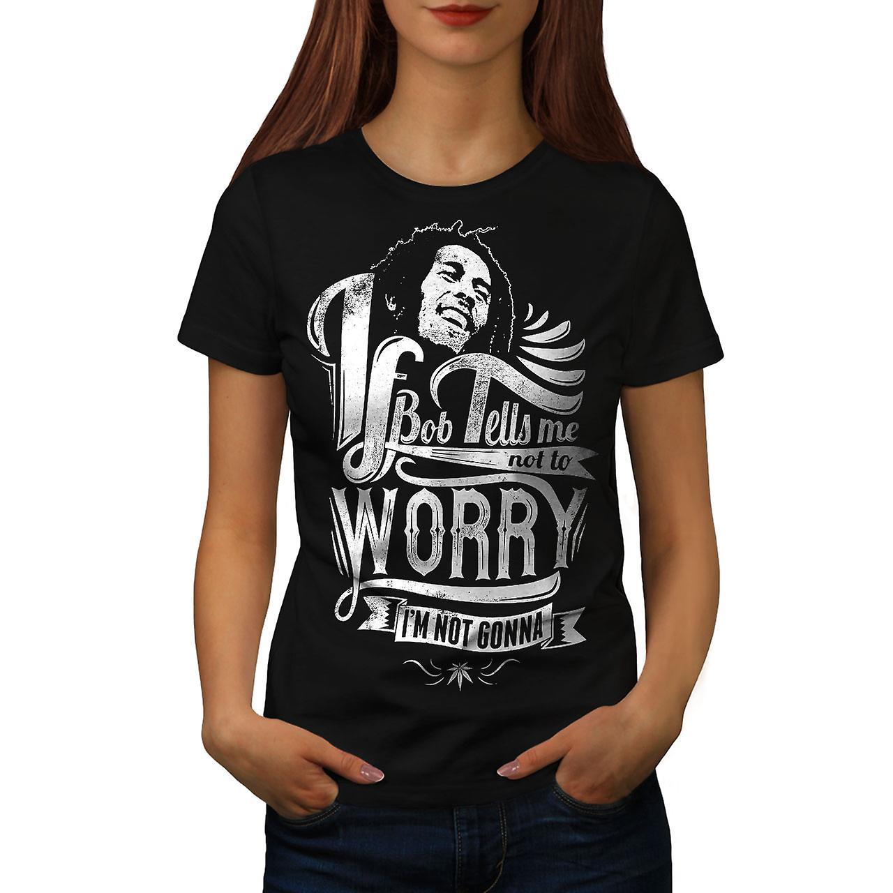 Bob Marley Dont Worry Women Black T-shirt | Wellcoda