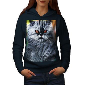 Разъяренная кошка сглаза животных женщин NavyHoodie | Wellcoda