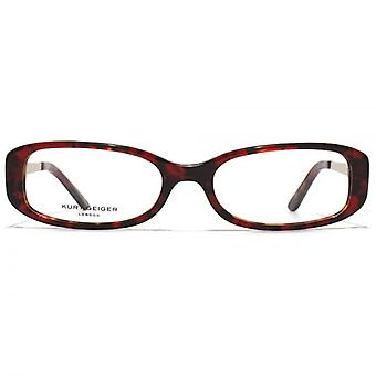 Kurt Geiger Sarah Classic Oval Acetate Glasses In Red Tortoiseshell With Red Interior