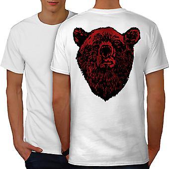 Red Bear Face Wild Animal Men WhiteT-shirt Back | Wellcoda