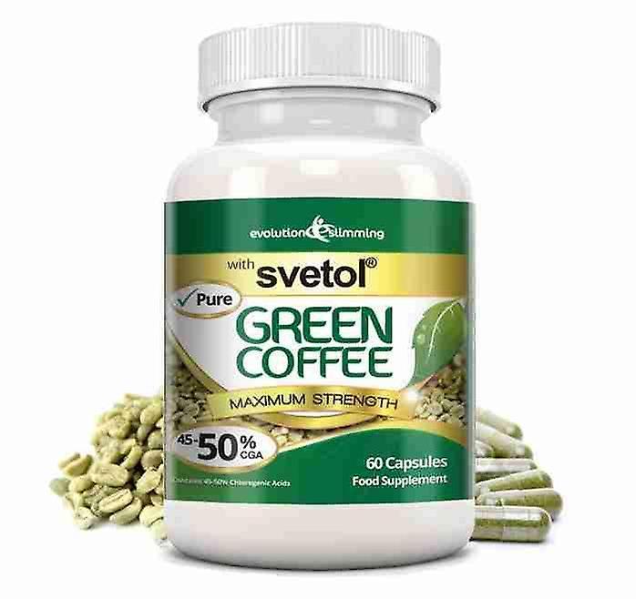 Pure Svetol Green Coffee Bean with 50% CGA - 60 Capsules - Fat Burner and Antioxidant - Evolution Slimming