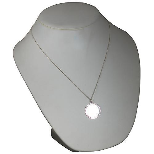 Silver 26mm round diamond cut edge Disc with a curb Chain 22 inches