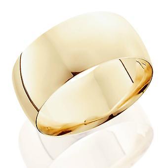 10 ملم قبة عالية مصقول الزفاف الفرقة 14 ك الذهب الأصفر