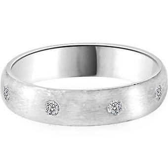 950 Platinum Diamond Comfort Fit Brushed Wedding Band