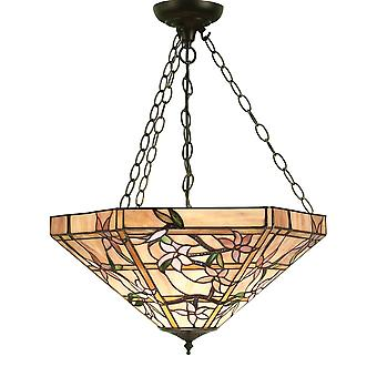 Interiors 1900 64019 Clematis 3 Light Tiffany Glass Inverted Ceiling P