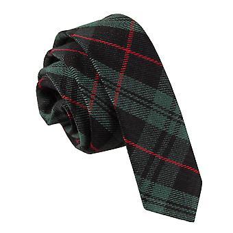 Black & Green with Red Tartan Skinny Tie