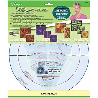 Trace 'n Create Quilt Templates By Nancy Zieman-Carefree Curves Collection