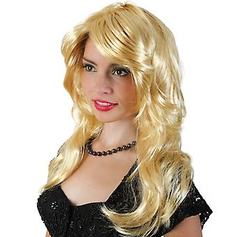 Heather Blond Wig long hair side parting 70s